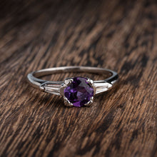Load image into Gallery viewer, Platinum Amethyst and Baguette Fashion Ring