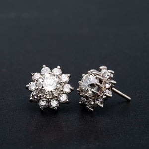 3.00 CTW Diamond Earrings Halo Studs