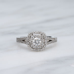 Sparkling Double Halo Diamond Engagement Ring