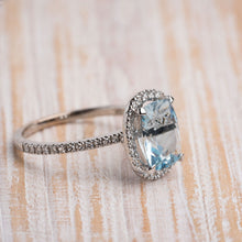 Load image into Gallery viewer, Aquamarine & Diamond Fashion Ring