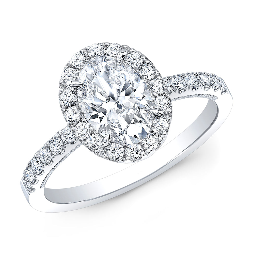1.50 CTW Oval Halo Diamond Engagement Ring