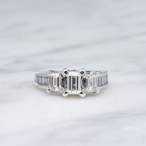 1.48CTW Emerald Cut Diamond Engagement Ring
