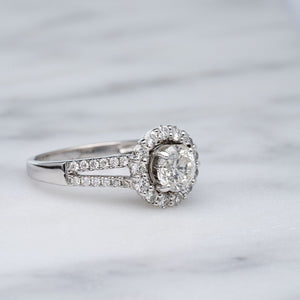 Beautiful Diamond Halo With Split Shank Engagement Ring