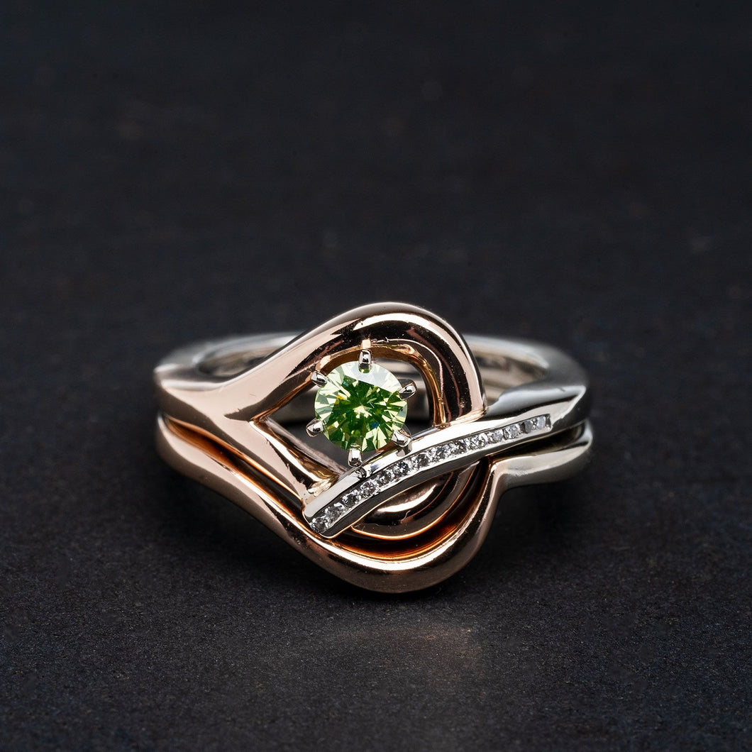 Green Irradiated Diamond Crafted in 14kt Rose and White Gold