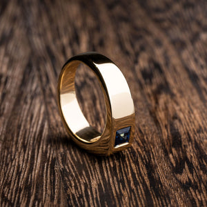 Yellow Gold Blue Sapphire Fashion Ring