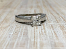 Load image into Gallery viewer, Princess Cut Engagement Ring With Diamonds Embedded In The Cathedral Setting