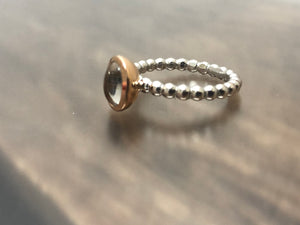 Quartz Rose Gold and White Gold Ring