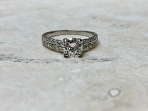 Round Brilliant Diamond Pavé Set Engagement Ring