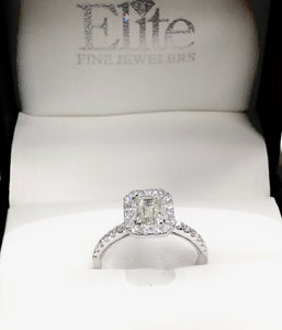 1.50 CTW Emerald Halo Diamond Engagement Ring