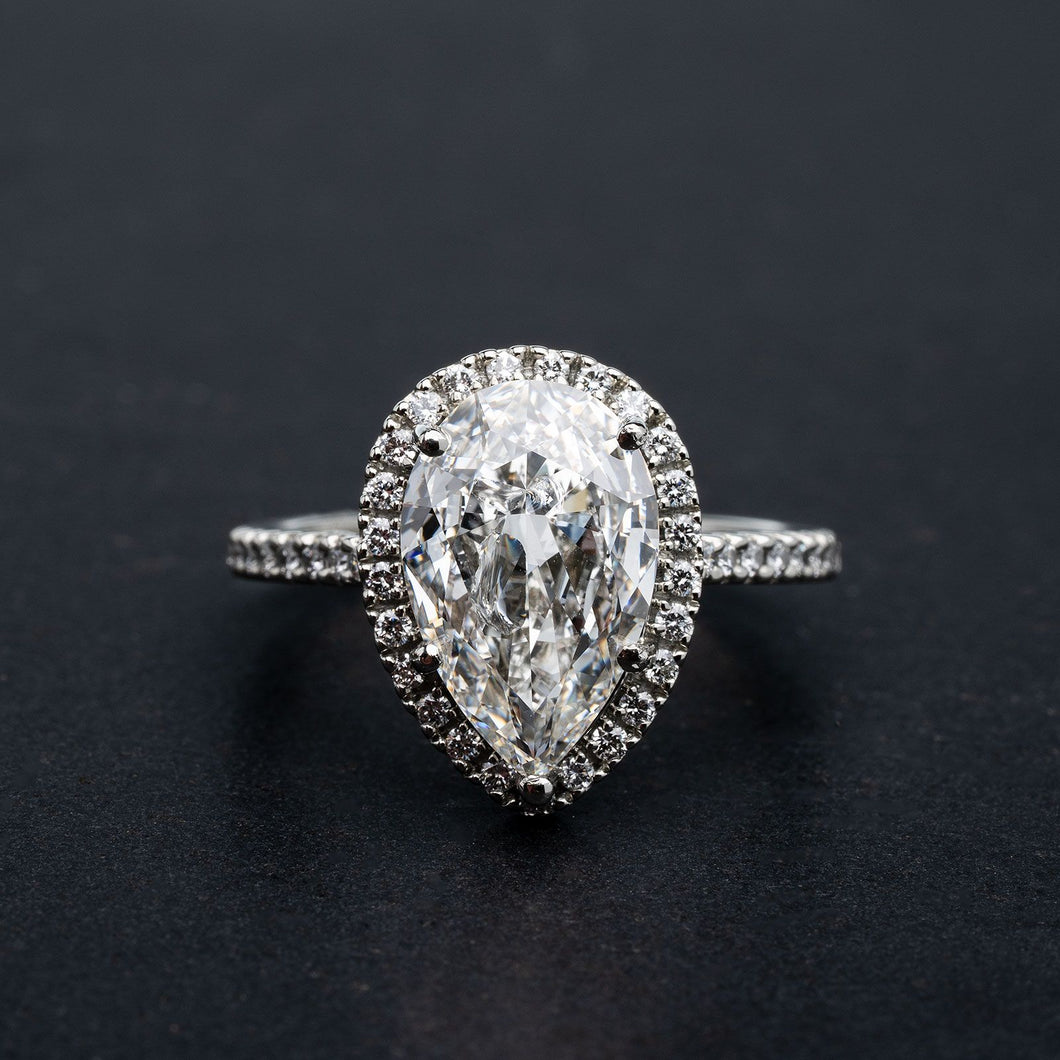 Incredible 3.01 Carat Pear Shape Diamond Engagement Ring