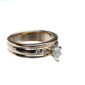 Pear Shape Diamond Yellow Gold Engagement Ring