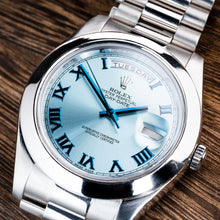 Load image into Gallery viewer, Rolex Platinum President Ice Blue Roman Dial