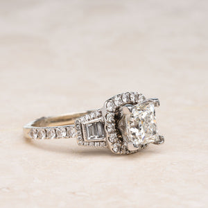 Gorgeous 3.05CTW Halo Princess Cut Engagement Ring