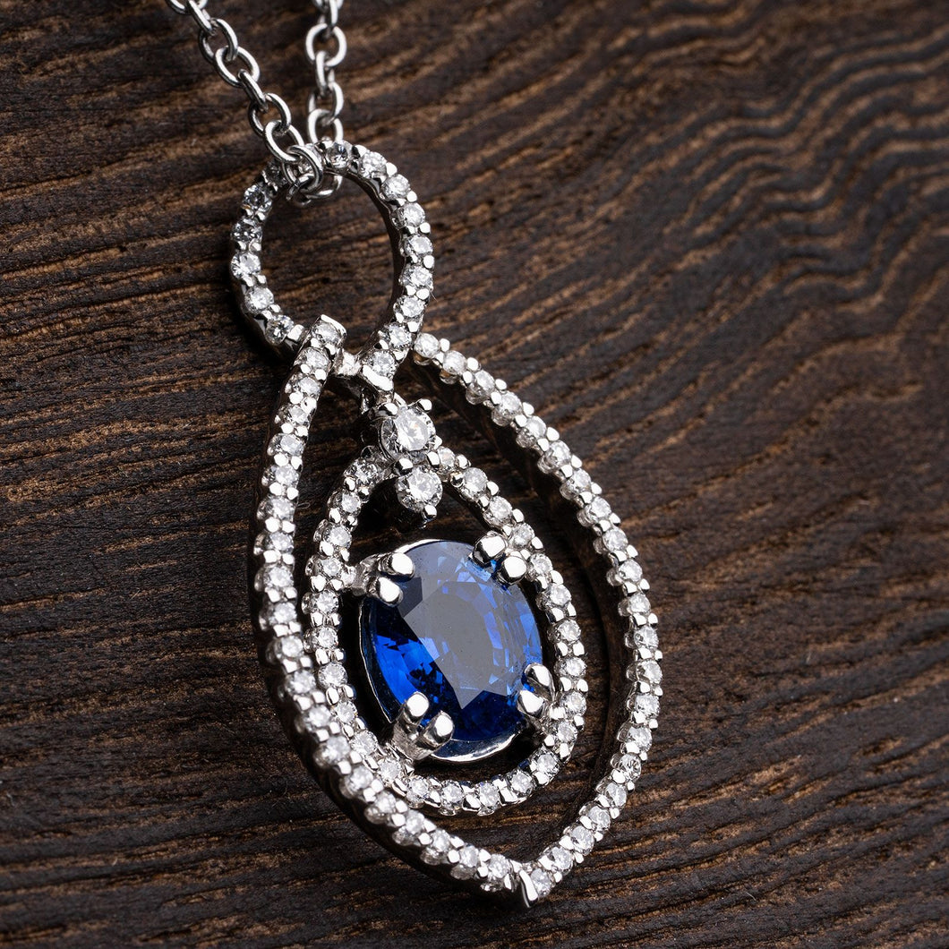Beautiful Deep Blue Sapphire and Diamond Pendant