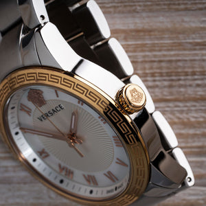 Versace Gold Roman Numeral Mother of Pearl Watch