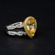 Load image into Gallery viewer, Glamorous 7CTW Yellow Sapphire Surrounded by 2CTW in Diamonds