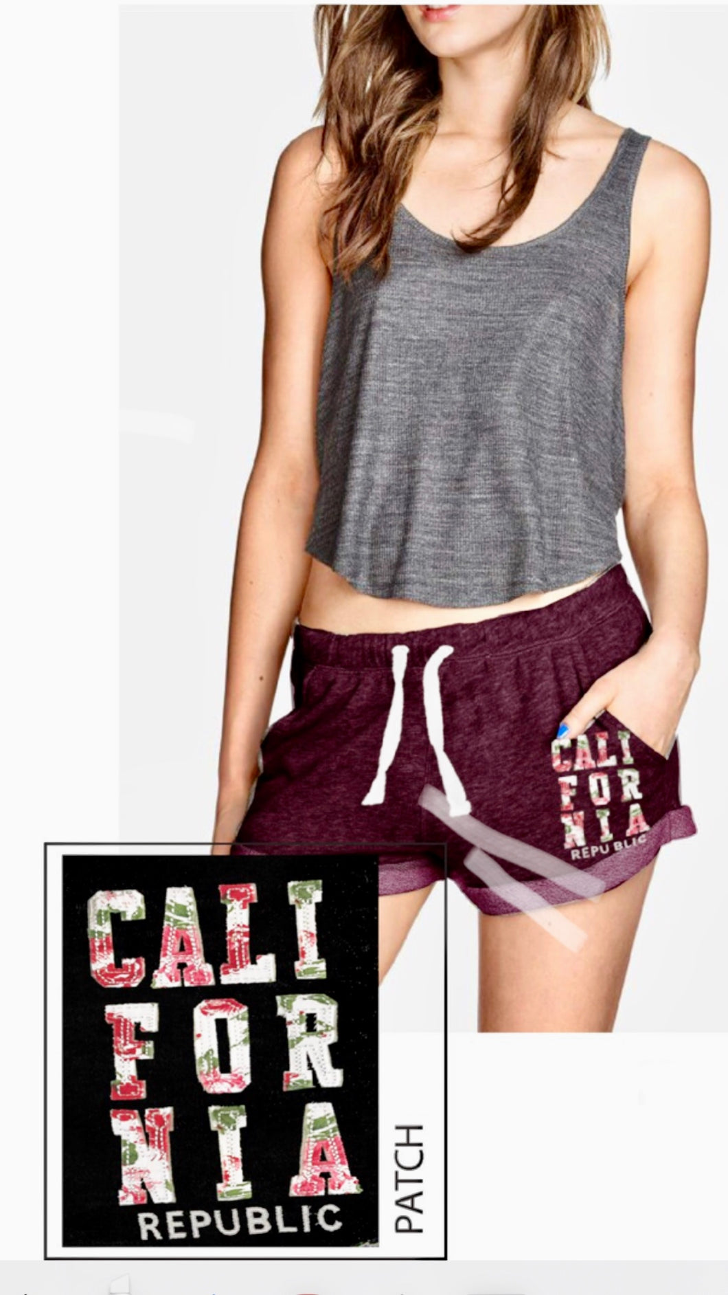 SHORT with California Patch Basic French Terry  - H002