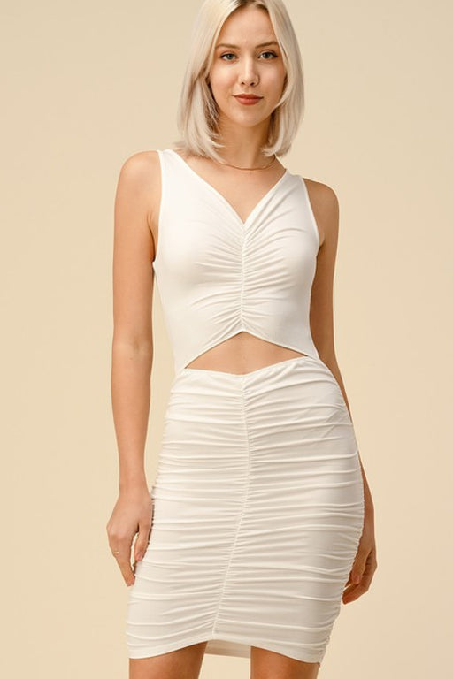 EVAVON Womens Apparel V-Neck Cutout Ruched Tank Midi Dress Soft White-Oasisincentives