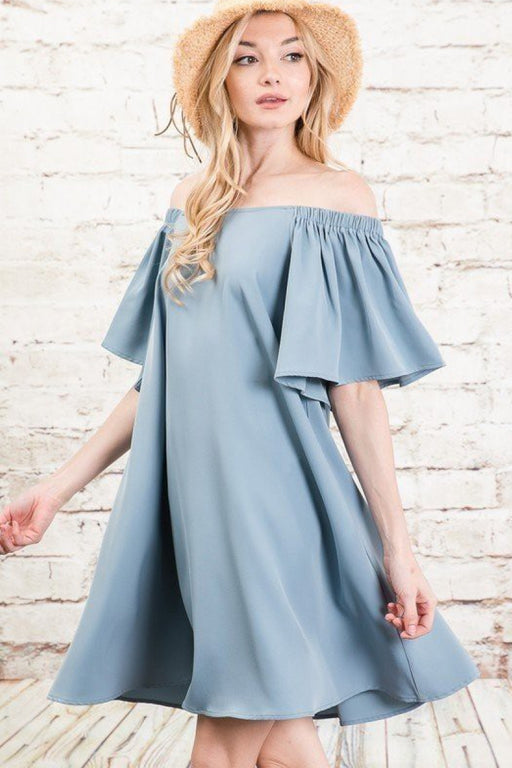 EVAVON Womens Apparel Off Shoulder Swing Dress Dusty Blue-Oasisincentives