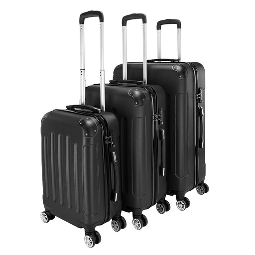 "Luggage Set 3-in-1 Portable ABS Trolley Case 20"" / 24"" / 28"" Black - Oasisincentives"