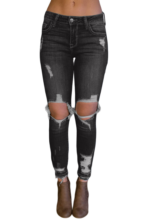 EVAVON Womens Fashion Apparel Black Destroyed Skinny Jeans - Oasisincentives