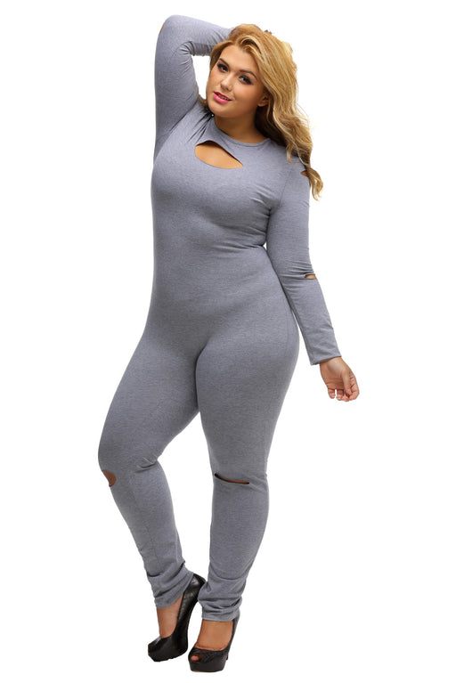 EVAVON Womens Plus Size Fashion Apparel Slit Long Sleeve Jumpsuit Gray - Oasisincentives