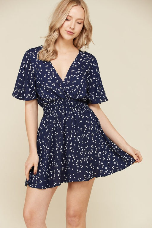 EVAVON Womens Apparel Flutter Sleeve Star Printed Dress Navy-Oasisincentives