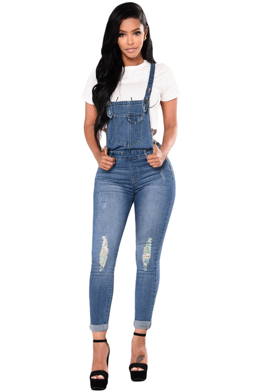 EVAVON Womens Fashion Apparel Light Blue Denim Laidback Distressed Overalls - Oasisincentives