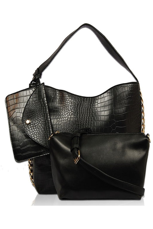 EVAVON Womens 3 in 1 Crocodile Single Handle Tote Pouch and Clutch Handbag - Oasisincentives