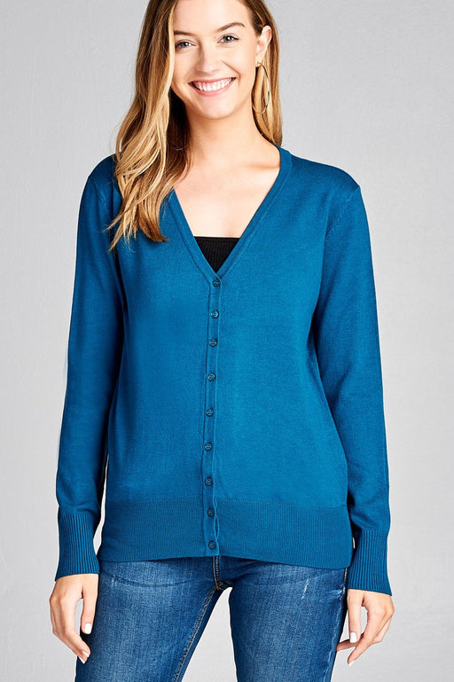 EVAVON Womens Apparel Fashion Long Sleeve V Neck Classic Sweater Cardigan - Oasisincentives