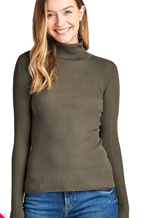 EVAVON Womens Fashion Plus Size Long Sleeve Turtle Neck Fitted Rib Sweater Top - Oasisincentives