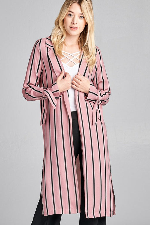 EVAVON Womens Fashion Apparel Long Sleeve Notched Collar Side Slit Multi Stripe Long Jacket - Oasisincentives