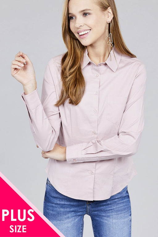 EVAVON Womens Plus Size Fashion Long Sleeve Button Down Stretch Shirt - Oasisincentives