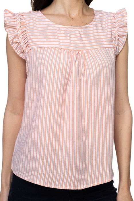 EVAVON Womens Apparel Ruffle Sleeve Stripe Top - Oasisincentives