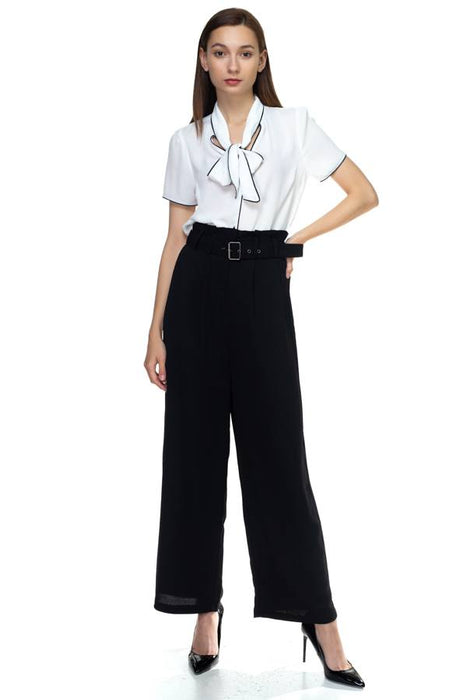 EVAVON Womens Apparel Belted Wide Leg Pants - Oasisincentives