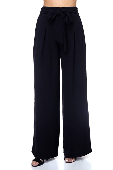 EVAVON Womens Apparel Belted Pleated Palazzo Pants - Oasisincentives