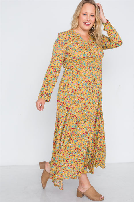 EVAVON Womens Plus Size Fashion Apparel Floral Print Button Down Maxi Dress - Oasisincentives