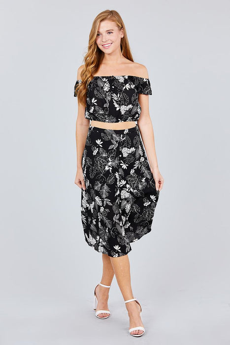 EVAVON Womens Apparel Tulip Sleeve Off The Shoulder Button Down Crop Top And Button Down Midi Skirt Set - Oasisincentives