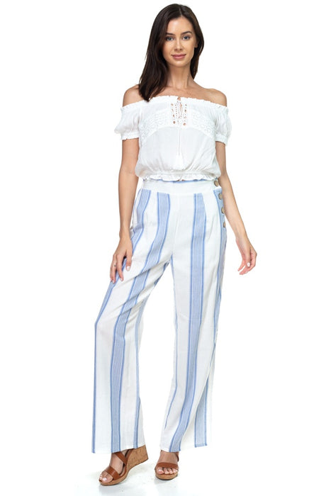 EVAVON Womens Apparel Multi Stripe Side Button Pants - Oasisincentives