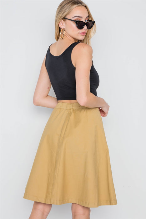 EVAVON Womens Apparel Khaki High Waist Solid A-line Midi Skirt - Oasisincentives