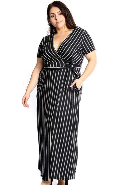EVAVON Womens Plus Size Fashion Apparel Elegant Plunging Neckline Maxi Dress - Oasisincentives