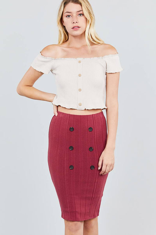 EVAVON Womens Apparel Button Detail Rib Midi Skirt - Oasisincentives