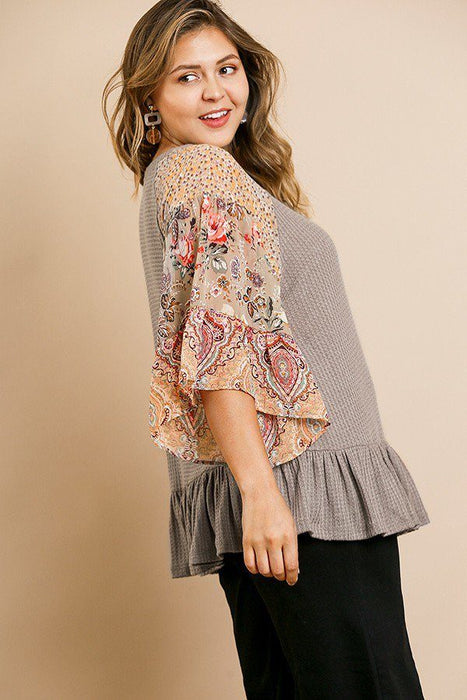 EVAVON Womens Plus Size Floral Paisley Mixed Print Bell Sleeve Waffle Knit Top - Oasisincentives