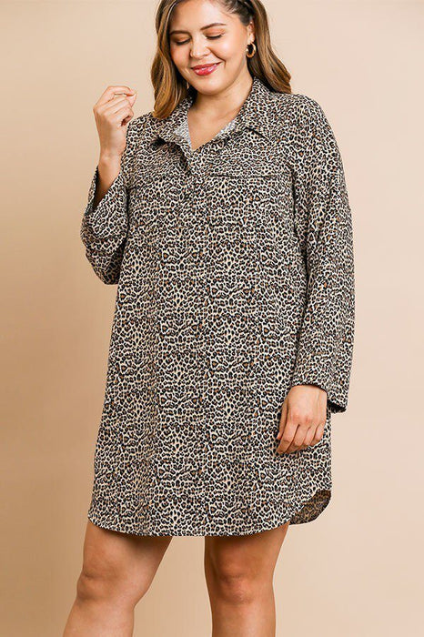EVAVON Womens Plus Size Fashion Apparel Animal Print Long Sleeve Collared Dress With Chest Pockets And Scoop Hem - Oasisincentives