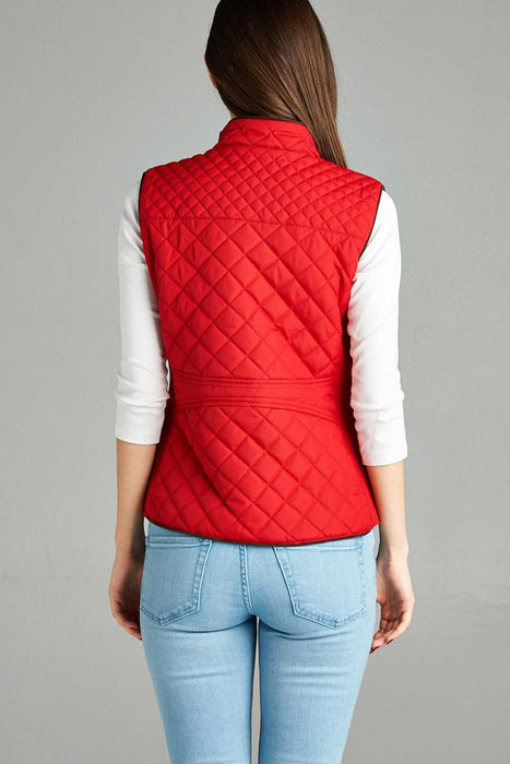 EVAVON Womens Plus Size Fashion Apparel Quilted Padding Vest With Suede Piping Details - Oasisincentives
