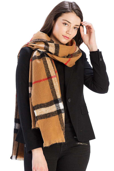 EVAVON Womens Apparel Checker Plaid Pattern Scarf - Oasisincentives