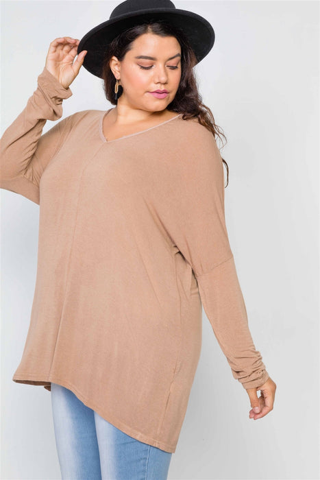 EVAVON Womens Plus Size Fashion Apparel Basic Over Sized Long Sleeve Top - Oasisincentives