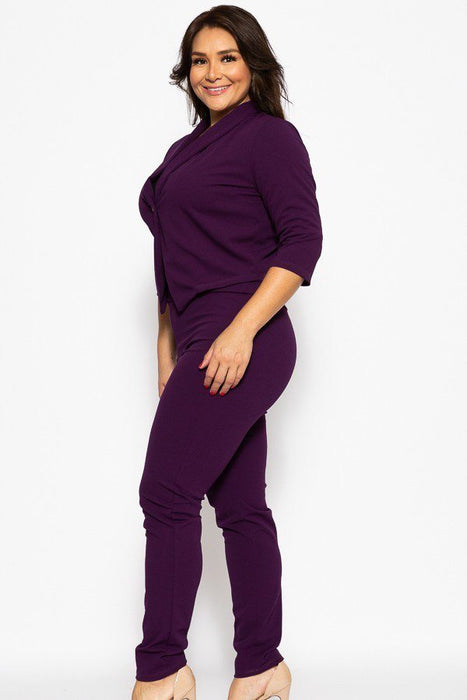 EVAVON Womens Plus Size Fashion Apparel Classic Pant Suit Set - Oasisincentives