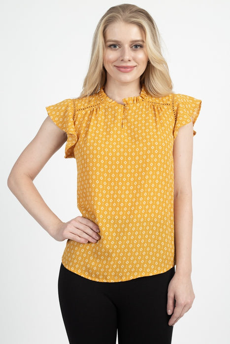 EVAVON Womens Apparel Geo Print Front Key Hole Top - Oasisincentives