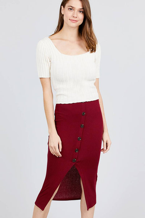 EVAVON Womens Apparel Front Button Detail Rib Midi Skirt - Oasisincentives
